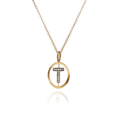 18ct Gold Diamond Initial T Necklace