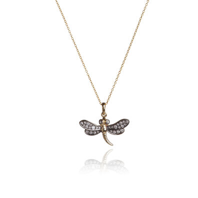 Love Diamonds 18ct Gold Diamond Dragonfly Necklace