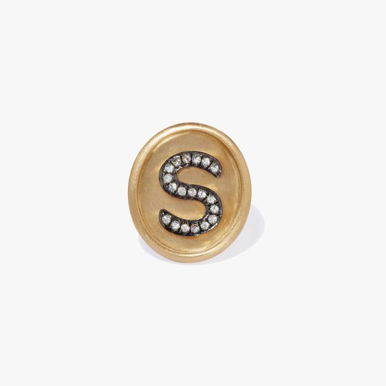 18ct Gold Diamond Initial S Face | Annoushka jewelley