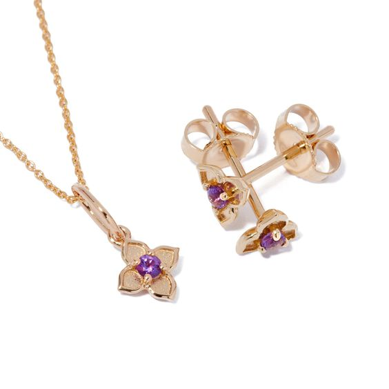 Tokens 14ct Gold Amethyst Studs   Annoushka jewelley