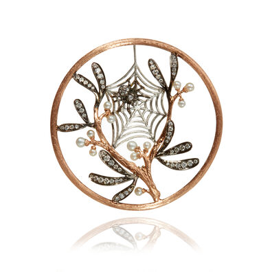 18ct Rose Gold Diamond Spider Web Hoopla