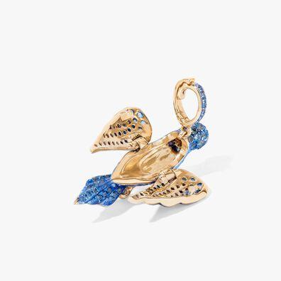 18ct Gold Blue Bird Locket Chain Necklace