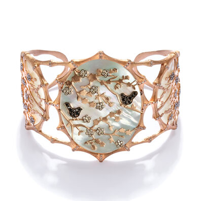 Dream Catcher 18ct Rose Gold Pearl Diamond Cuff