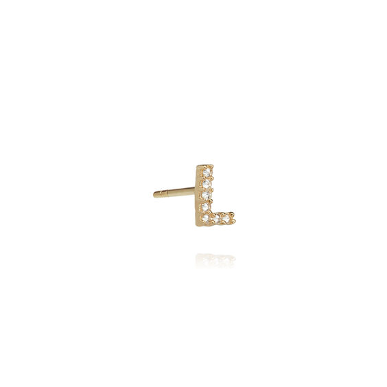 18ct Gold Diamond Initial L Single Stud Earring