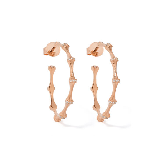 Bamboo 18ct Rose Gold Diamond Hoop Earrings | Annoushka jewelley