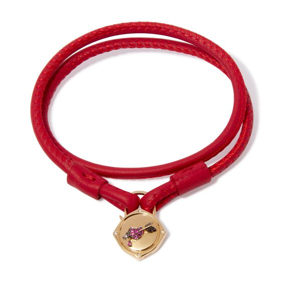 Lovelock 18ct Gold 41cms Red Leather Heart & Arrow Charm Bracelet | Annoushka jewelley