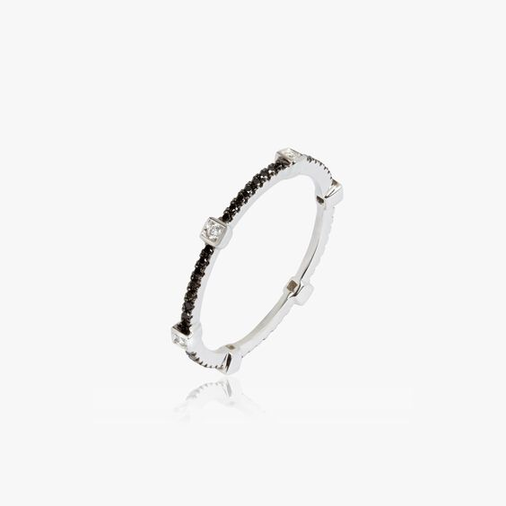 Pavilion 18ct White Gold Black Diamond Eternity Ring | Annoushka jewelley