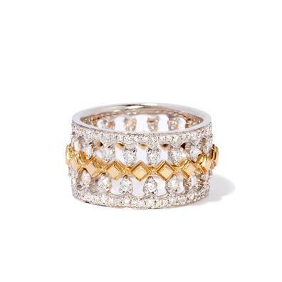 Stepping Stone 18ct Mixed Gold Crown Ring Stack