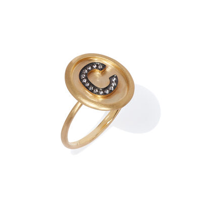 18ct Gold Diamond Initial C Ring