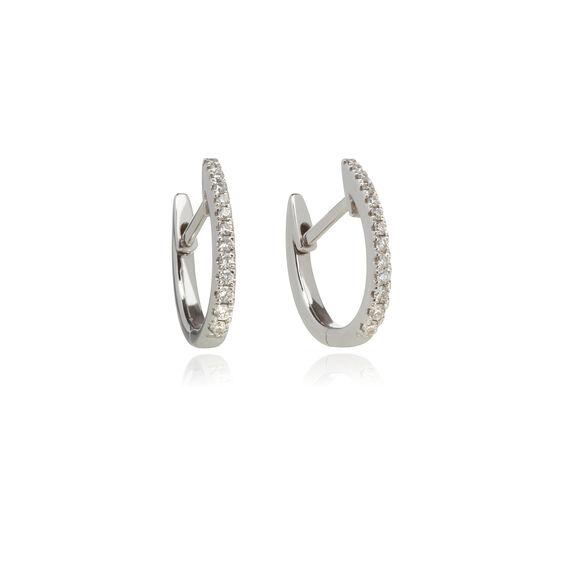 ad49d5d69 Eclipse 18ct White Gold Diamond Fine Hoop Earrings