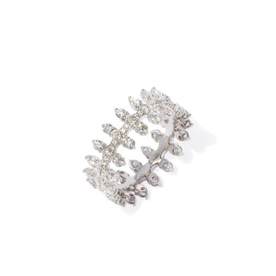 Crown 18ct White Gold Double Diamond Ring