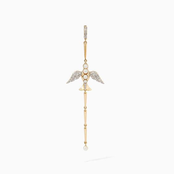 18ct Gold Pearl Diamond Lovebirds Drop Charm