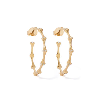 Bamboo 18ct Gold Diamond Hoop Earrings