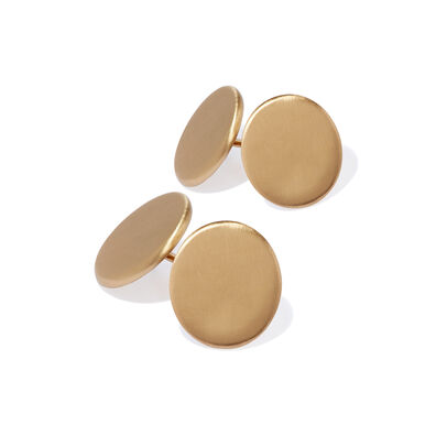 A Pair of 18ct Gold Plain Cufflinks