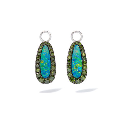 Unique 18ct White Gold Opal Green Diamond Earring Drops