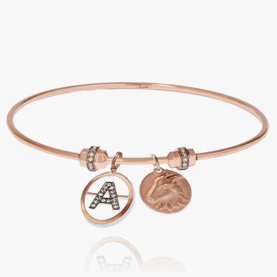 Mythology 18ct Rose Gold Initial and Zodiac Charm Bangle