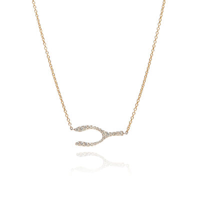 Love Diamonds 18ct Bi-Gold Diamond Wishbone Necklace