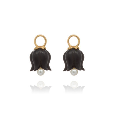 18ct Gold Ebony Pearl Tulip Earring Drops