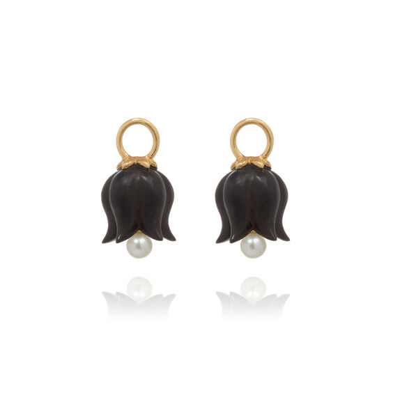 18ct Gold Ebony Pearl Tulip Earring Drops | Annoushka jewelley