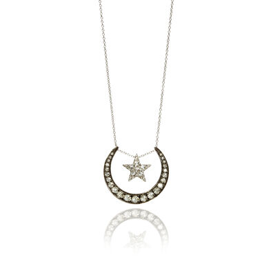 Love Diamonds 18ct White Gold Diamond Lunar Necklace