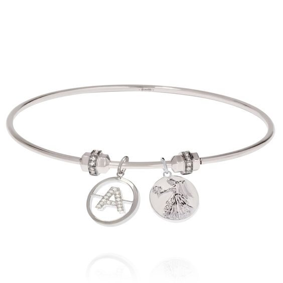 Mythology 18ct White Gold Initial and Zodiac Charm Bangle | Annoushka jewelley