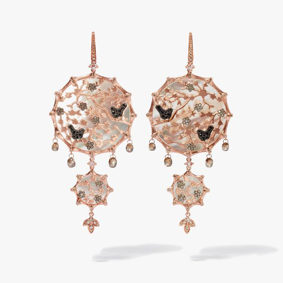 Dream Catcher 18ct Rose Gold Pearl Large Earrings