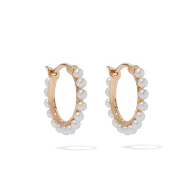 18ct Gold Pearl Hoop Earrings