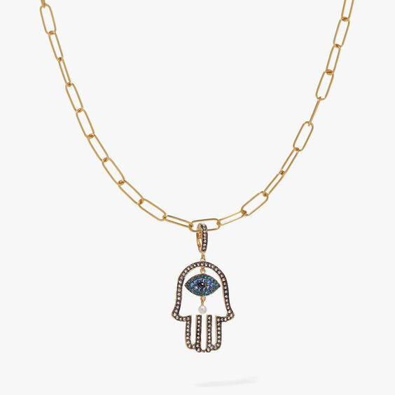 18ct Gold Hand of Fatima Charm Necklace