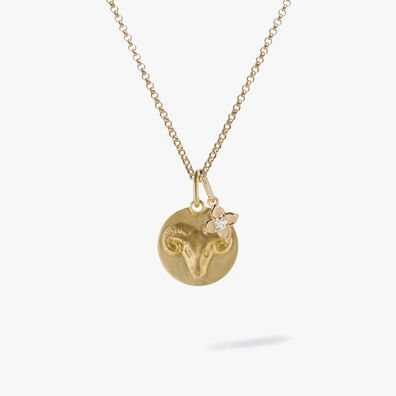 Gold Aries & Diamond April Birthstone Necklace