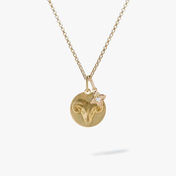 Gold Aries & Diamond April Birthstone Necklace | Annoushka jewelley