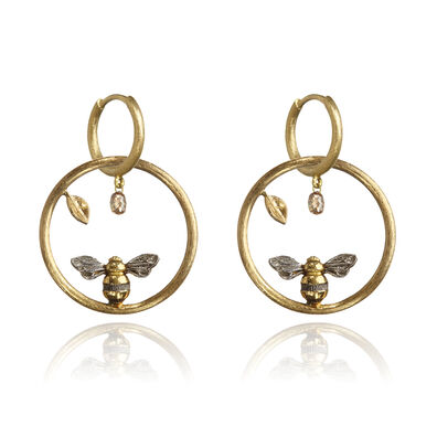 Hoopla 18ct Gold Diamond Bee Earrings