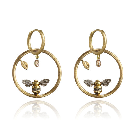 Hoopla 18ct Gold Diamond Bee Earrings | Annoushka jewelley