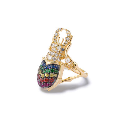 Mythology 18ct Gold Rainbow Beetle Ring