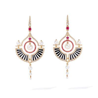 Unique 18ct Gold Pearl Diamond Drop Earrings