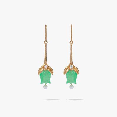 18ct Gold & Jade Tulip Earrings