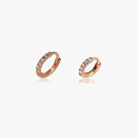 Dusty Diamonds 18ct Rose Gold Diamond 7.5mm & 10mm Hoops | Annoushka jewelley