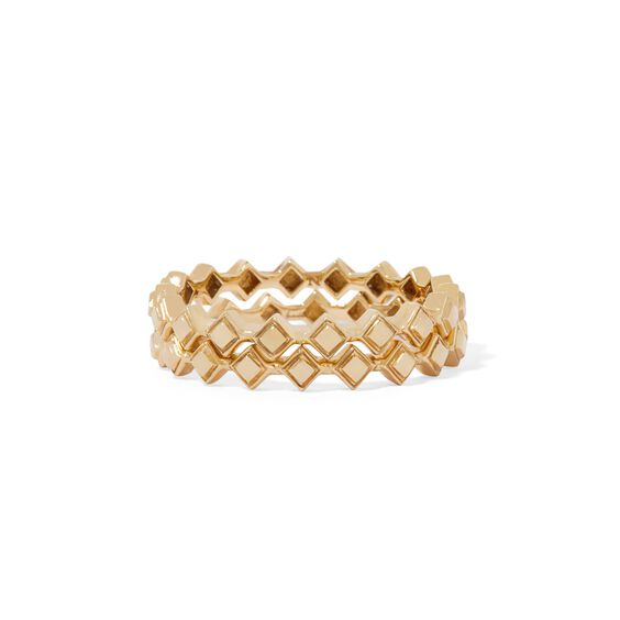Stepping Stone 18ct Gold Ring Stack | Annoushka jewelley