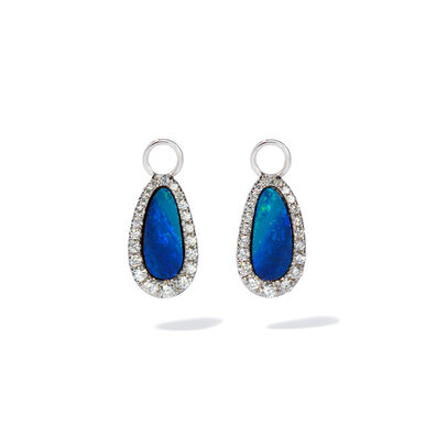 Unique 18ct White Gold Opal Diamond Earring Drops