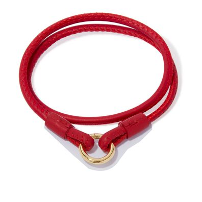 14ct Gold Lovelink 41cms Red Leather Bracelet
