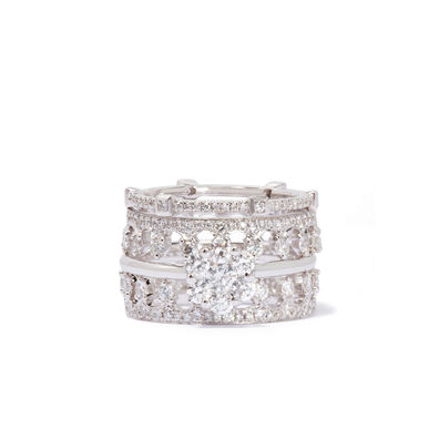 Daisy Pavilion Ring Stack in 18ct White Gold