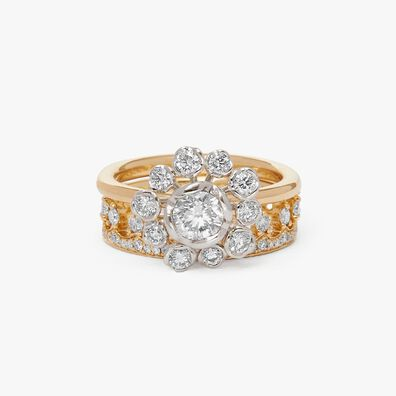 18ct Gold Marguerite Diamond and Crown Ring Stack