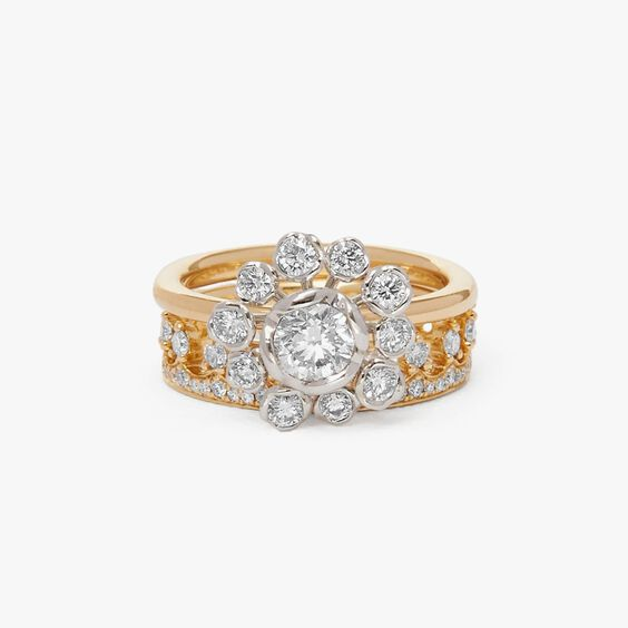 18ct Gold Marguerite Diamond and Crown Ring Stack | Annoushka jewelley