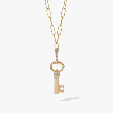 18ct Gold Diamond Key Charm Necklace