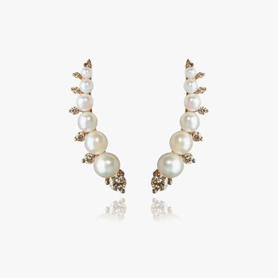 Diamonds & Pearls 18ct Rose Gold Ear Pins