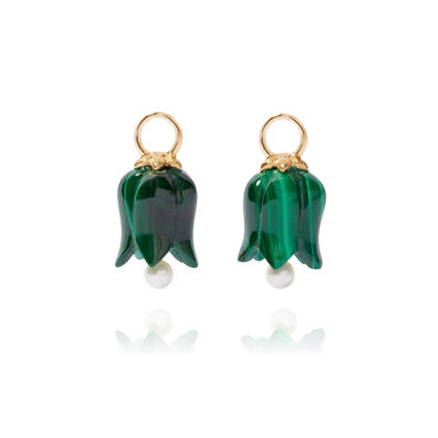 18ct Gold Malachite Pearl Tulip Earring Drops