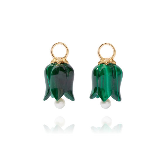 18ct Gold Malachite Pearl Tulip Earring Drops | Annoushka jewelley