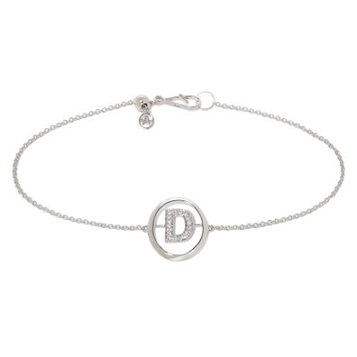 18ct White Gold Diamond Initial D Bracelet