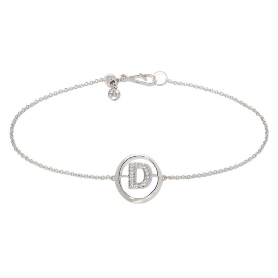 18ct White Gold Diamond Initial D Bracelet | Annoushka jewelley