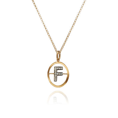 18ct Gold Diamond Initial F Necklace