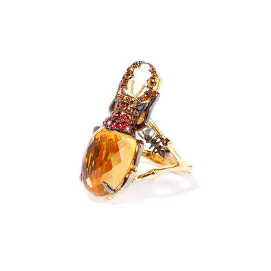 Mythology 18ct Gold Citrine Beetle Ring